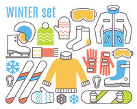 Winter sport activities. Snowboard, ski and warm Stock Photography