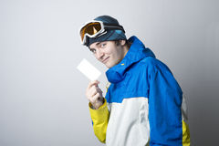 Winter sport athlete with business card Stock Photo
