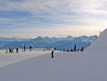 Winter sport atmosphere. Near the slope Stock Photography