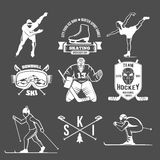 Winter sport badges set Royalty Free Stock Photo