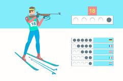 Winter sport Biathlon. Biathlete shooting in the standing position. Rifleman with a small-caliber rifle. Vector illustration EPS-8 Stock Photography