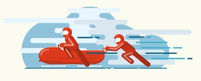 Winter sport of bobsleigh. Vector illustration. Winter sport of bobsleigh. Extreme Royalty Free Stock Images