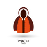 Winter sport brown and orange jacket clothes Royalty Free Stock Image