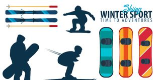 Winter Sport collection. Ski and Snowboard. Vector illustration. Winter Sport collection. Ski and Snowboard. Vector illustration Royalty Free Stock Images