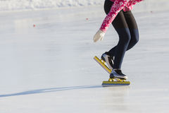 Winter sport concept - golden Ice skates Royalty Free Stock Photography