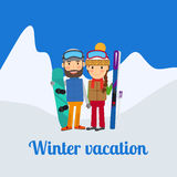 Winter sport, couple on vacation stock illustration