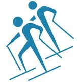 Winter sport - Cross-country skiing icon Stock Photo