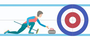 Winter sport Curling. Curling player with stone and broom on a rink. Vector illustration EPS-8 Stock Photography