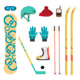Winter sport different accessories snowboard, cross-country Royalty Free Stock Photography