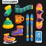 Winter-Sport-Element-Sammlung Lizenzfreies Stockbild