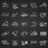 Winter sport and entertainment thin line set on black background stock illustration