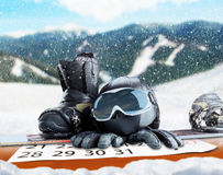 Winter sport equipment on winter background Royalty Free Stock Image