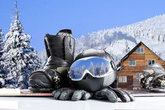 Winter sport equipment on winter background royalty free stock photography
