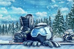 Winter sport equipment on winter forest background Stock Photography