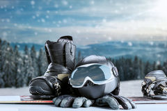 Winter sport equipment on winter forest background Stock Photo
