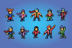 Winter sport fans pixel art style avatars. Vector isolated stock illustration