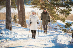 Winter sport in Finland - nordic walking. Royalty Free Stock Images