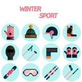 Winter sport flat icon set Stock Photo