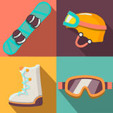 Winter sport flat icons collection Royalty Free Stock Photo