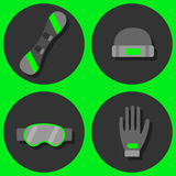 Winter sport flat icons set. Winter sport flat icons collection Royalty Free Stock Photos