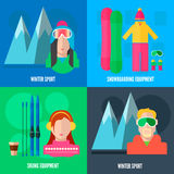 Winter sport flat icons. Square composition banner with snowboarding and skiing equipment.  Abstract  vector illustration Royalty Free Stock Photos