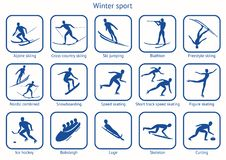 Winter sport and game. Set of 15 icon with a description. Pictograms for  fifteen sport disciplines of winter competitions. Vector illustration EPS-8 Stock Photography