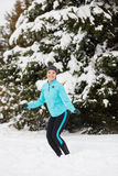 Winter sport, girl jumping in snow Stock Image