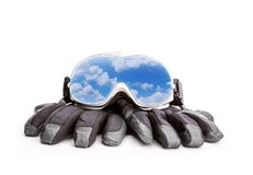 Winter sport glasses and gloves Royalty Free Stock Image