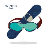 Winter sport glasses and snowboard graphic Royalty Free Stock Photography