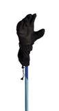 Winter sport gloves on ski pole Royalty Free Stock Photo