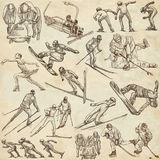 Winter Sport. An hand drawn full sized pack. Hand drawing on pap. An hand drawn collection. Winer Sport. Pack on old paper, isolated. Full sized hand drawings Royalty Free Stock Photos