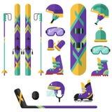 Winter sport - hockey, snowboarding, ski Stock Photography