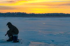 Winter sport ice fishing royalty free stock photography