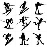 Winter Sport icons. Cartoon icons of winter olympic games sports disciplines, vector silhouettes clip art Stock Photo