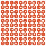 100 winter sport icons hexagon orange. 100 winter sport icons set in orange hexagon isolated vector illustration Stock Photography
