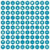 100 winter sport icons sapphirine violet. 100 winter sport icons set in sapphirine hexagon isolated vector illustration Royalty Free Stock Image