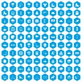 100 winter sport icons set blue. 100 winter sport icons set in blue hexagon isolated vector illustration Stock Photography