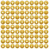 100 winter sport icons set gold. 100 winter sport icons set in gold circle isolated on white vector illustration Royalty Free Stock Photo