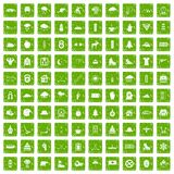 100 winter sport icons set grunge green. 100 winter sport icons set in grunge style green color isolated on white background vector illustration Royalty Free Stock Photography