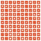 100 winter sport icons set grunge orange. 100 winter sport icons set in grunge style orange color isolated on white background vector illustration Royalty Free Stock Photography