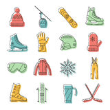 Winter sport icons set Royalty Free Stock Images