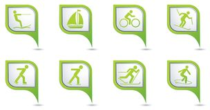 Winter sport icons set on map pointers Stock Images