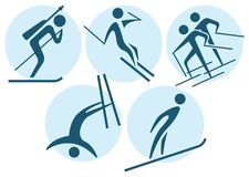Winter sport - winter icons set Stock Photos