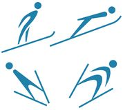 Winter sport - Ski jumping icons set Royalty Free Stock Photos