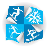 Winter sport icons stickers. Royalty Free Stock Photo