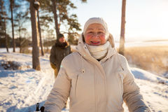 Free Winter Sport In Finland - Nordic Walking. Stock Photos - 84265493