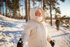 Free Winter Sport In Finland - Nordic Walking. Royalty Free Stock Images - 84266219