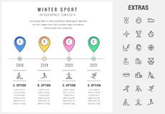 Winter sport infographic template, elements, icons Stock Photo