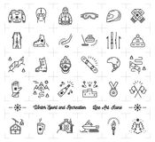 Winter sport line icons set, Recreation, ski, snowboard, ice skating Royalty Free Stock Image