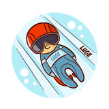 Winter Sport Luge Sticker Stock Photography
